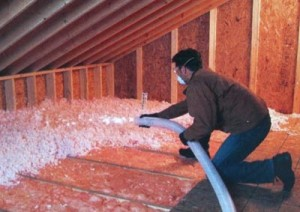 Blown in attic insulation installation