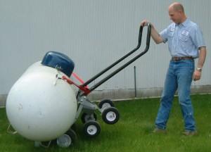 Instruções sobre como mover um tanque de propano 500 lb
