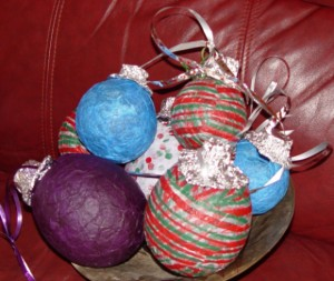 Handmade tissue paper covered glass ornaments for Christmas