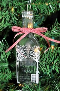 Use glass-bottles to make Christmas decorations