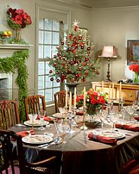 Setting and decorating the dinner table for Christmas