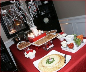 Use red and white to decorate a Christmas buffet table