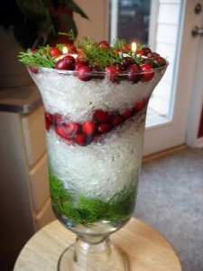 Use Christmas decorations to make centerpieces for tables