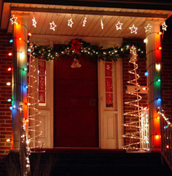 Learn to decorate the outside door and windows with Christmas lights