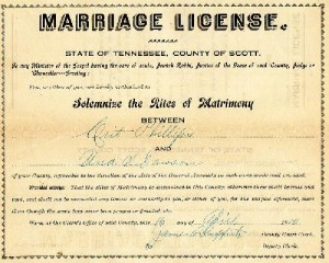 Obtaining a copy of a Marriage License for free