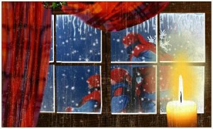 Decorating the windows in a Victorian Christmas style