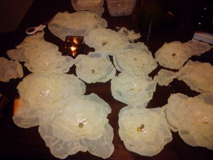 Learn to create chiffon flowers for a wedding